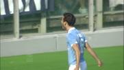Parolo di testa per il goal del raddoppio in Lazio-Cesena