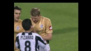 Flo reagisce al calcio di Pizarro
