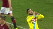 Fuori di un nulla il colpo di testa di Insigne contro il Milan