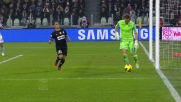 Marchetti si inventa un dribbling in disimpegno allo Juventus Stadium