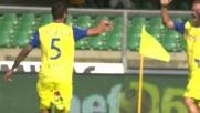 Gamberini incorna il vantaggio del Chievo sulla Lazio