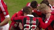 Goal di testa di Bojan in anticipo sul primo palo contro il Siena
