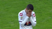 Handanovic è reattivo sul tiro pericoloso di Iago Falque