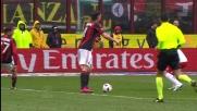 Huseklepp sventa una grande occasione per il Milan sul cross di Ibrahimovic