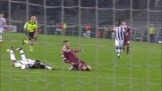 Wague stende Quagliarella al limite dell'area: secondo giallo ed espulsione contro il Torino