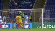 Il colpo di testa di Blanchard si stampa sulla traversa, niente goal per il Frosinone