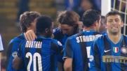 Ibrahimovic di testa segna per l'Inter il goal che stende la Lazio