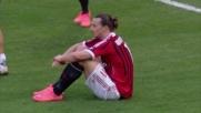 Ibrahimovic in rovesciata manda la palla di poco fuori al Meazza