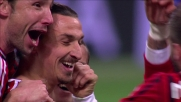 Ibrahimovic porta in vantaggio il Milan centrando l'incrocio della porta del Cagliari