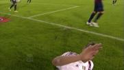 Ibrahimovic sbaglia il controllo in area di rigore delCagliari