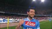 Dzemaili di sinistro segna il 2-0 del Napoli sul Genoa