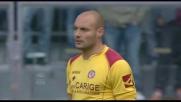 Il centrocampista del Chievo Rigoni realizza il goal del vantaggio a Livorno