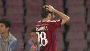 Il colpo di testa di Bonaventura si infrange sul palo a Napoli
