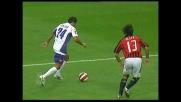 Il colpo di testa di Mutu batte Dida e vale il pareggio per la Fiorentina a San Siro