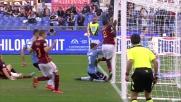 Il difensore della Roma Rudiger salva sulla linea gli assalti della Lazio