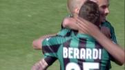 Il goal con il destro di Floro Flores segna la sua doppietta personale al Mapei Stadium