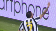 Il goal in rovesciata di Pepe porta in vantaggio la Juventus contro la Lazio