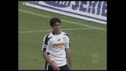 Il palo nega il goal a Corradi