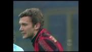 Il palo nega il goal a Shevchenko contro il Treviso