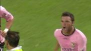 Il raddoppio del Palermo contro il Cagliari è siglato da Bertolo