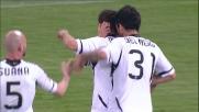 Il tiro a giro di Mutu finisce in goal regalando il pareggio al Cesena