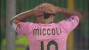Il tiro di Miccoli lambisce il palo in Palermo-Cagliari