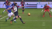 Ninkovic con un tiro-cross prova a lasciare un segno nel derby di Genova: Puggioni respinge coi pugni
