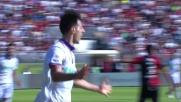 Kalinic di testa segna il goal del pareggio della Fiorentina al Sant'Elia