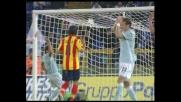 Kolarov fa tremare il Lecce colpendo la traversa su calcio di punizione