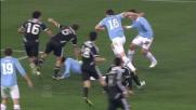 La mischia nell'area del Cesena viene risolta da Kozak con il goal vittoria per la Lazio