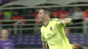 La zampata di Destro vale il goal del l'1 a 0 del Milan sulla Fiorentina