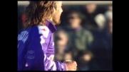 L'azione Edmundo-Batistuta porta la Fiorentina sul 4-1 contro il Venezia