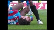 Ledesma abbattuto da una pallonata durante Udinese-Catania