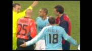 Liverani sgomita su Canini: per l'arbitro è espulsione per il giocatore della Lazio