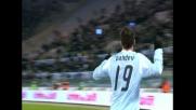 Pandev segna un goal di testa che porta la Lazio sull'1-1 contro la Juventus