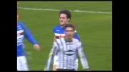 Maggio sbuca sul secondo palo e segna di testa: la Sampdoria passa in vantaggio con l'Ascoli