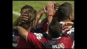 Matri, colpo di testa per il goal del Cagliari