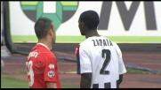 Meggiorini salta Zapata e viene atterrato: rigore per il Bari