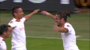 Osvaldo segna di testa il goal del sorpasso della Roma sul Genoa