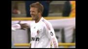 Il goal di David Beckham chiude la gara del Milan a Bologna