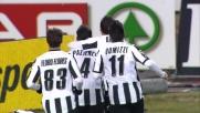Pazienza di testa segna il goal del vantaggio Udinese sul Lecce