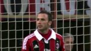 Pazzini per il goal della manita del Milan contro il Chievo