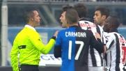 Peluso si procura un rigore contro l'Udinese