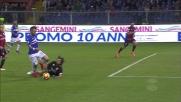 Perin aggancia Quagliarella in area: rigore per la Sampdoria