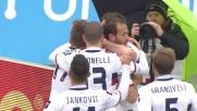 Portanova di testa segna il goal dell'1-1 contro la Fiorentina