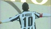 Di Natale spiazza Andujar da calcio di rigore siglando il goal del vantaggio dell'Udinese