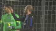 Masiello anticipa in scivolata Matri nel match Atalanta-Lazio