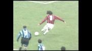 Maldini incrocia il sinistro, goal del Milan nel derby