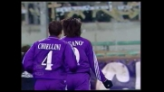Riganò segna il goal del vantaggio della Fiorentina nel derby toscano col Livorno