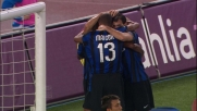 Samuel di testa segna il goall che porta in vantaggio l'Inter all'Olimpico